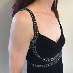 Black Silver Studded Top Le Chateau
